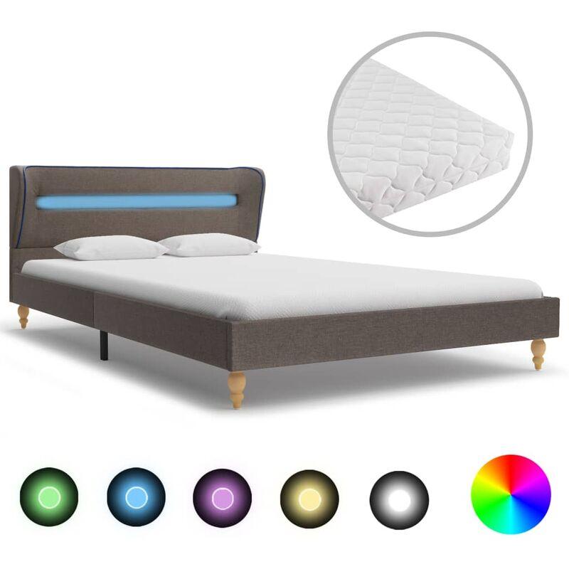 Bett mit LED Matratze Stoff Taupe 140×200cm - VIDAXL