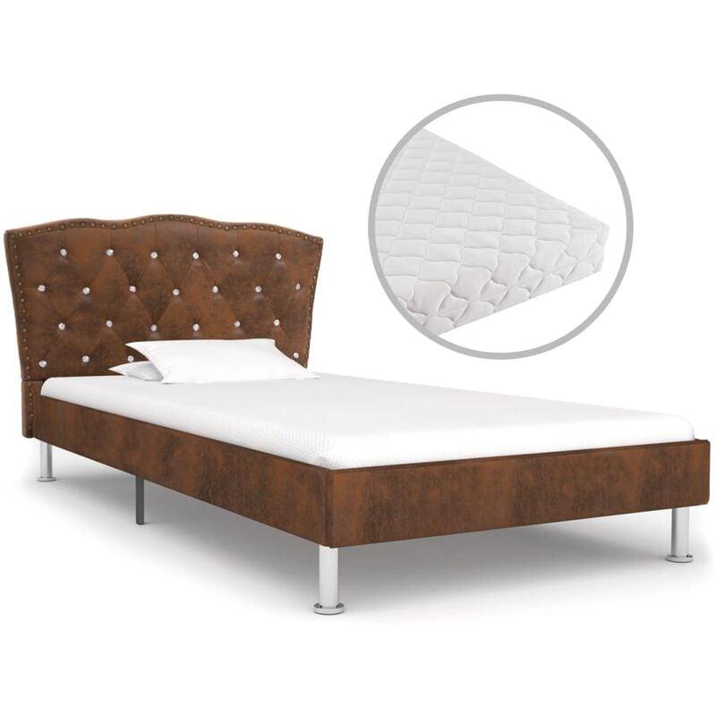 Bett mit Matratze Stoff Braun 90x200cm - VIDAXL