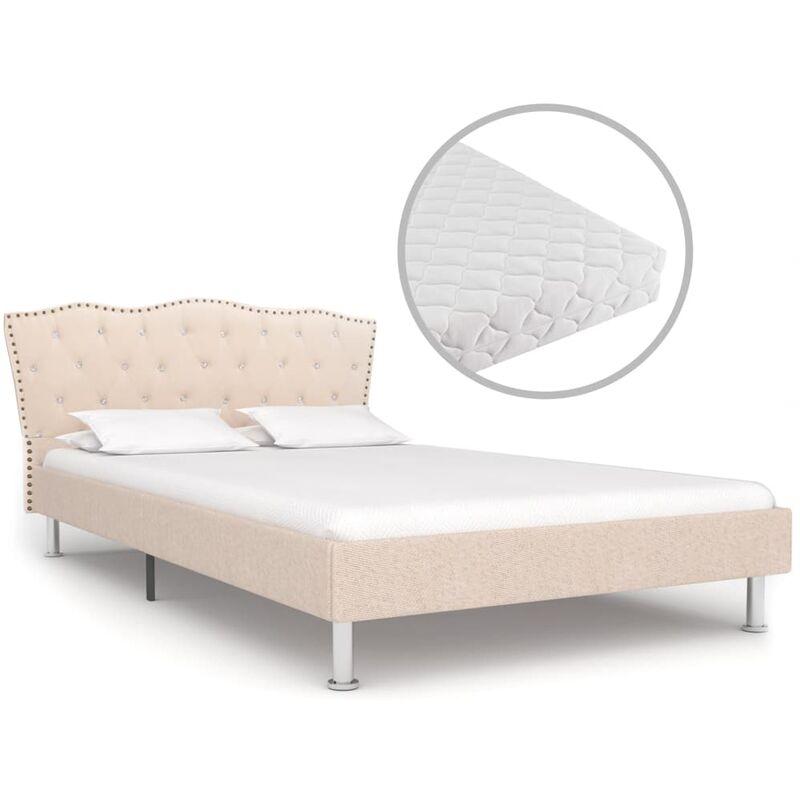 Bett mit Matratze Stoff Beige 120x200cm - VIDAXL