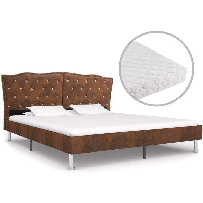 Bett mit Matratze Stoff Braun 180x200cm - VIDAXL