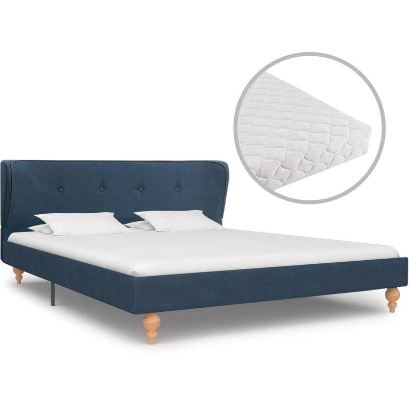 Bett mit Matratze Stoff Blau 140x200cm - VIDAXL