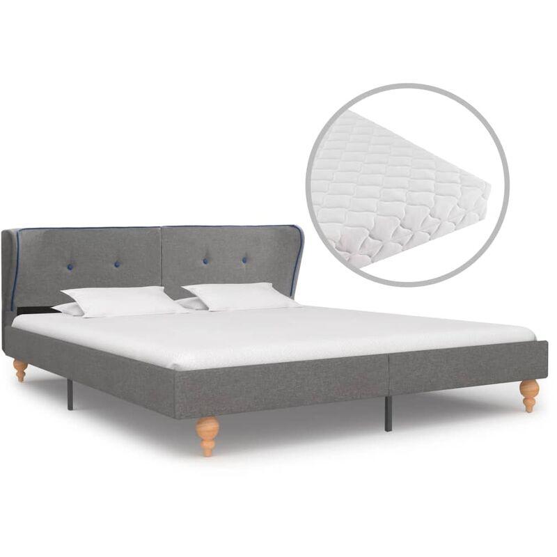Bett mit Matratze Stoff Hellgrau 180x200cm - VIDAXL