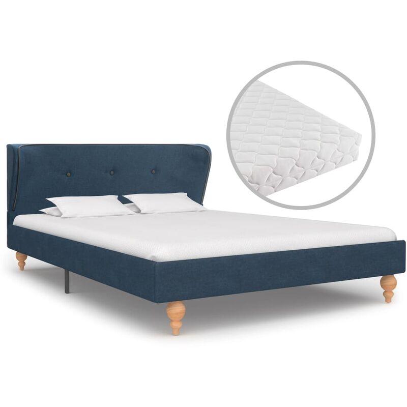 Bett mit Matratze Stoff Blau 120x200cm - VIDAXL