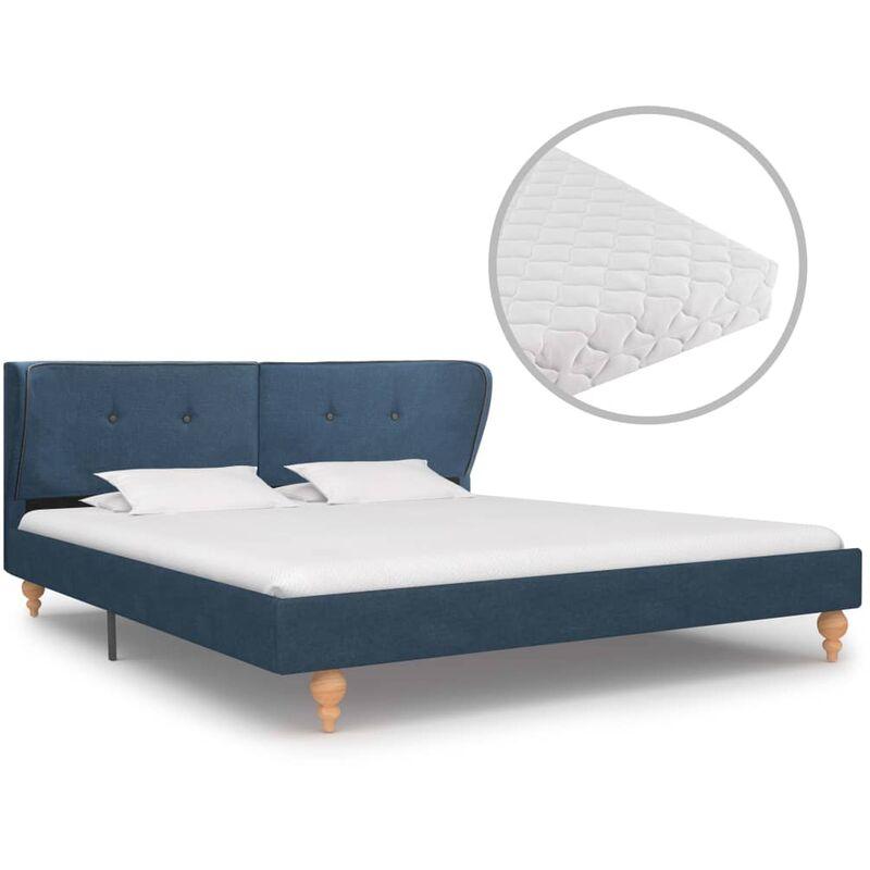 Bett mit Matratze Stoff Blau 160x200cm - VIDAXL