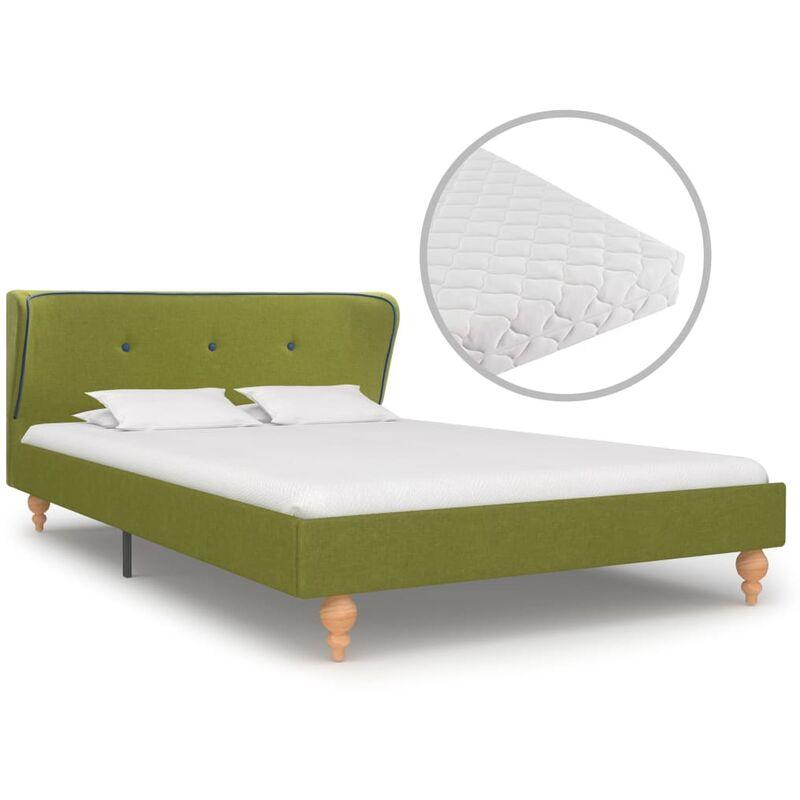 Bett mit Matratze Stoff Grün 120x200cm - VIDAXL