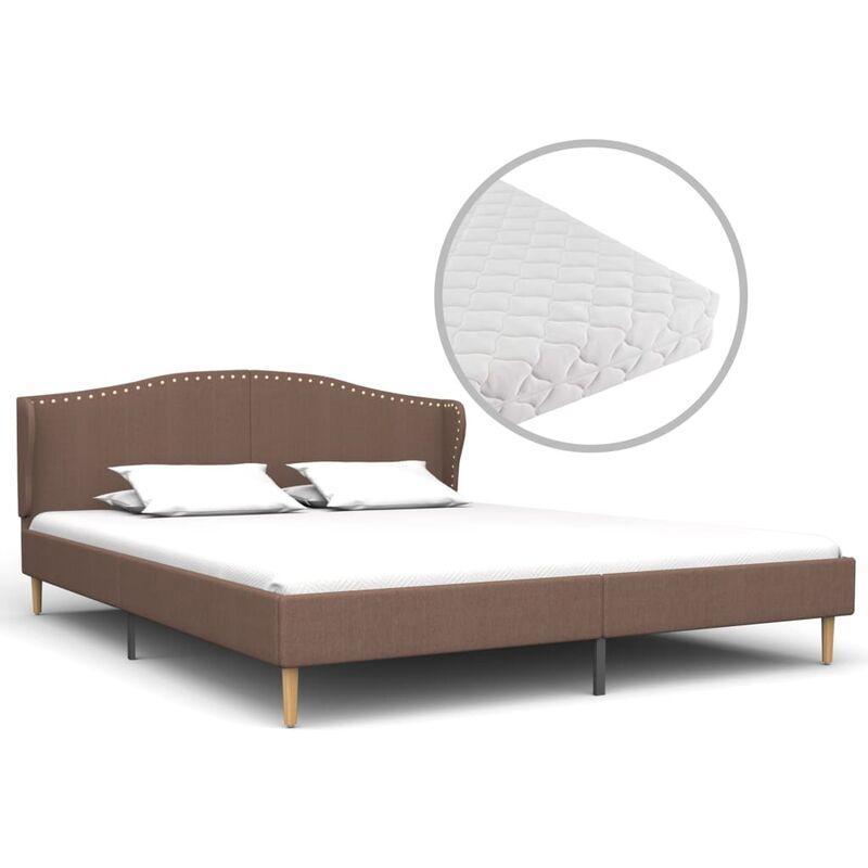 Bett mit Matratze Stoff Braun 160x200cm - VIDAXL