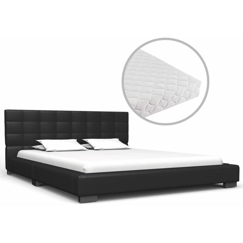 Bett mit Matratze Schwarz Kunstleder 140 x 200 cm - VIDAXL