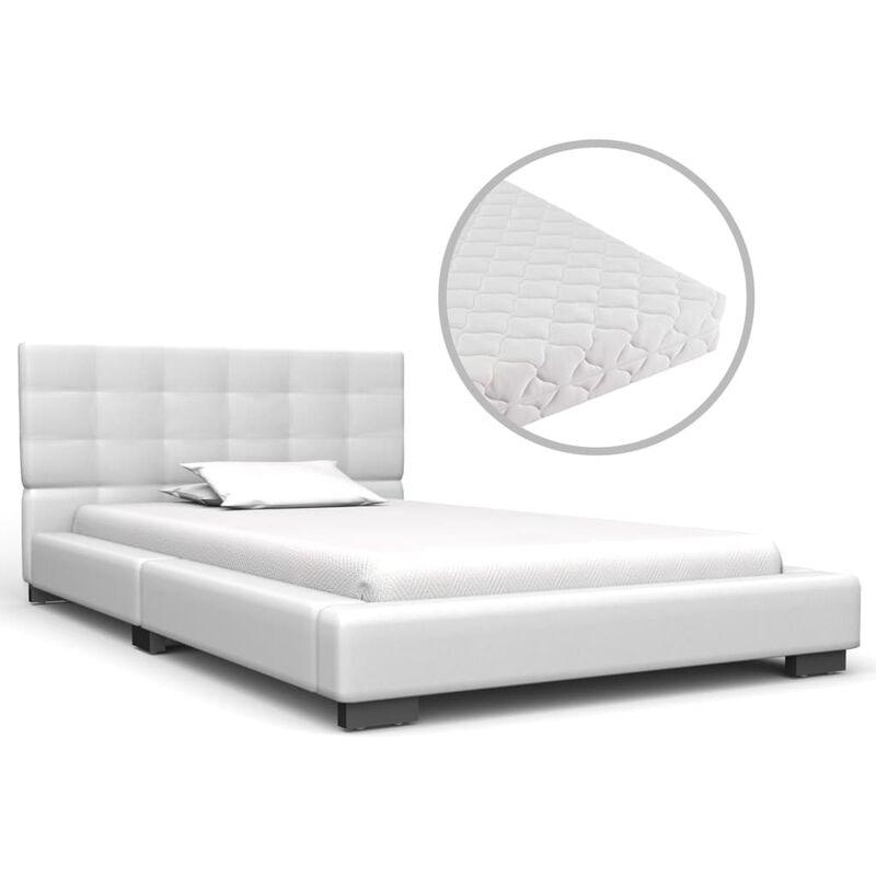 Bett mit Matratze Kunstleder Weiß 90x200cm