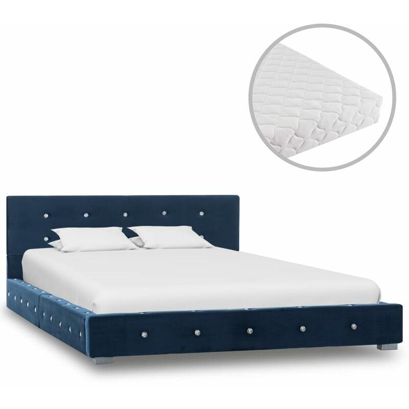 Bett mit Matratze Samt Blau 120x200cm - VIDAXL
