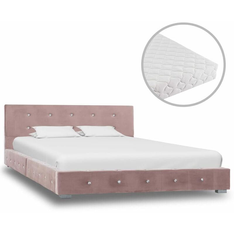 Bett mit Matratze Samt Rosa 120x200cm - VIDAXL