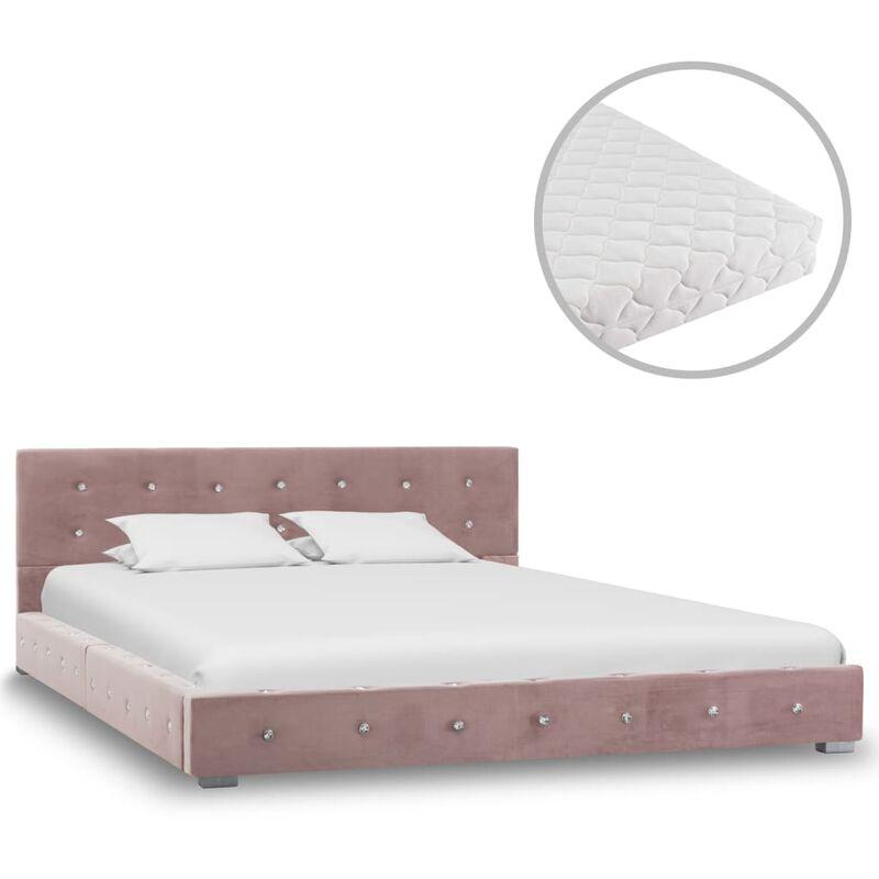 Vidaxl - Bett mit Matratze Samt Rosa 140x200cm
