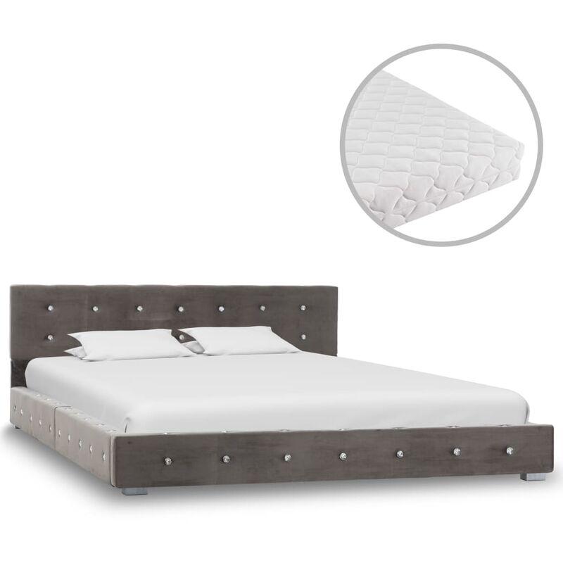 Bett mit Matratze Samt Grau 140x200cm - VIDAXL