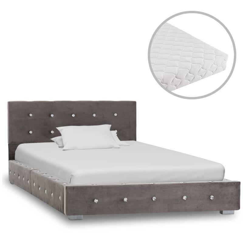 Bett mit Matratze Samt Grau 90x200cm - VIDAXL