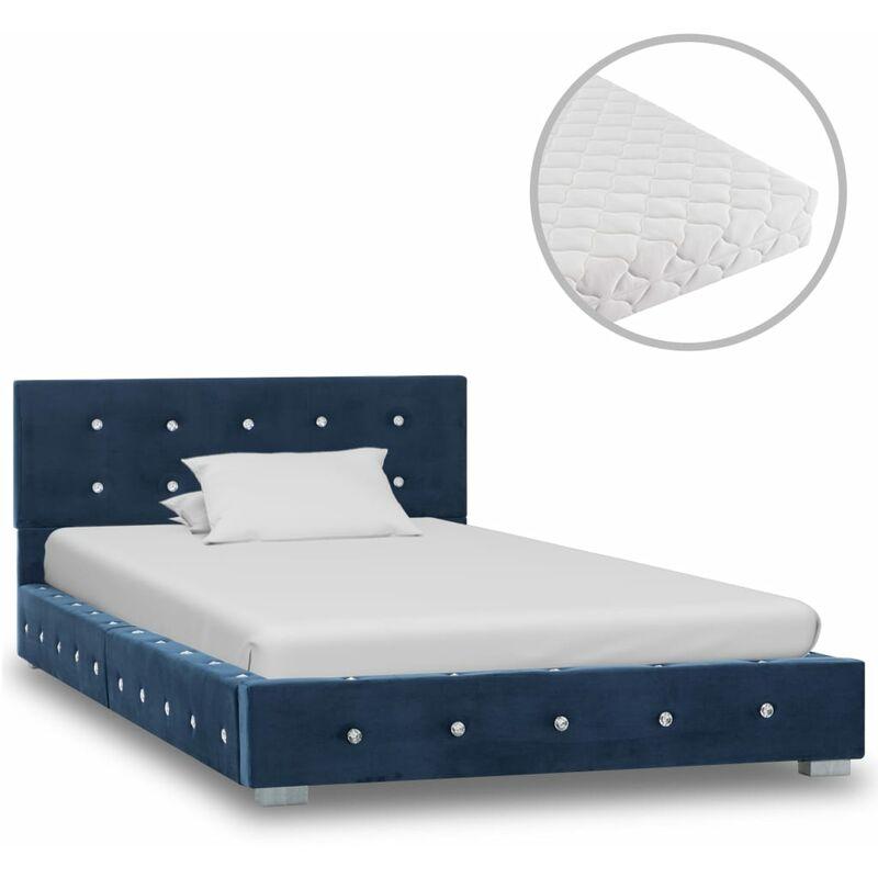 Bett mit Matratze Samt Blau 90x200cm - VIDAXL