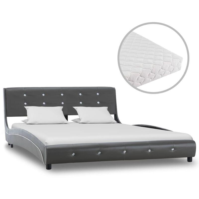 Bett mit Matratze Kunstleder Grau 140x200cm - VIDAXL