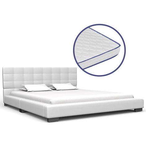 Bett mit Memory-Schaum-Matratze Weiß Kunstleder 140x200 cm