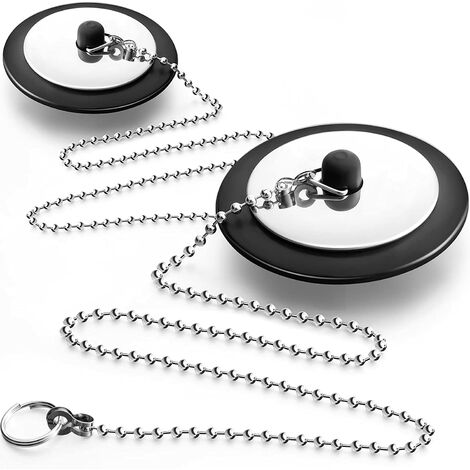 """main image of """"BETTE 2 Piece Black Rubber Bath Stopper with Chain Drain Stopper with Ball Chain Black Bath Stopper 2.5 Inch Rubber Tub Stopper for Bathroom Holes"""""""
