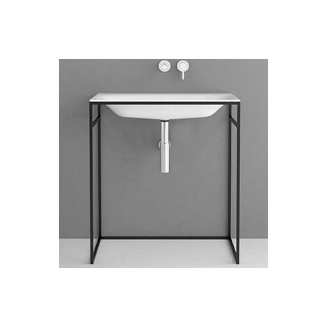 Bette Lux Lavabo empotrado para marco de lavabo, con agujero para grifo, A172 1000 x 495 mm, color: Negro brillante - A172-056HLW1