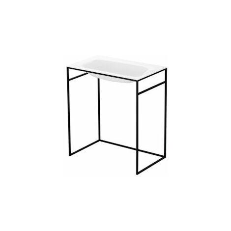 Bette Lux Lavabo empotrado para marco de lavabo, sin agujero para grifo, A171 800 x 495 mm, color: Negro brillante - A171-056