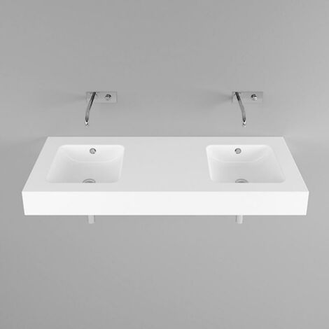 Bette One lavabo de pared, 2 cubetas, sin grifo, A142 1400 x 530 mm, color: Blanco - A142-000