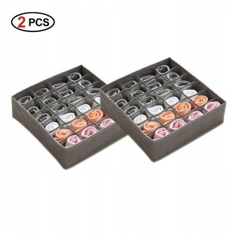 betterlife 2-teilige Aufbewahrungsbox für Unterwäsche, Aufbewahrungsbox für Socken, faltbare Aufbewahrungsbox für waschbare Unterwäsche, (32 * 32 * 10 cm) 24 Gitter Grau