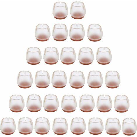 betterlife 32 Stück Silikon Stuhlkappe Fußpolster Möbel Tisch Bein Bodenschutz transparente Stuhlbeinkappe für 25-29 MM runde Beine -