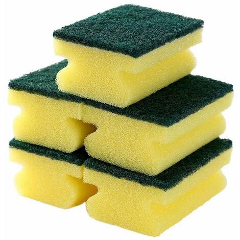 Betterlife 5 paquets de lingette éponge double face épaissie en forme de I E077 décontamination de la cuisine nettoyage brosse éponge vaisselle