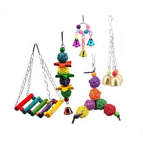 Betterlife 5 pièces oiseau jouet perroquet jouet ensemble balançoire cloche jouet perroquet jouet=