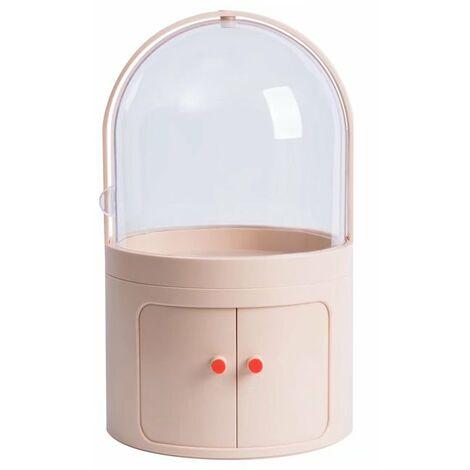 Betterlife Boîte de rangement cosmétique Coiffeuse transparente anti-poussière avec couvercle Boîte à cosmétiques Boîte de finition pour produits de soins de la peau de bureau (couleur chair claire)