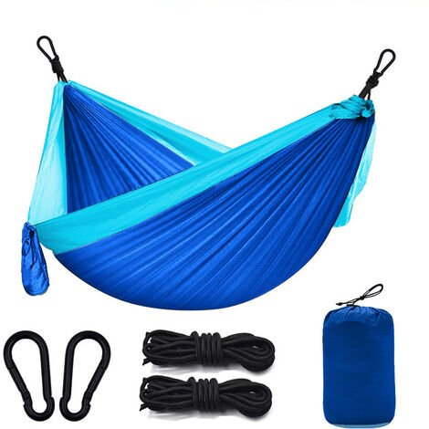 Betterlife Camping Outdoor Hammock, 260 x 140cm Ultra Light Camping Hammock, Garden Hammock Wearing 300kg, Travel Hammock with 2 x Mousfitters, 2 x Nylon Straps for Travel Garden - Blue
