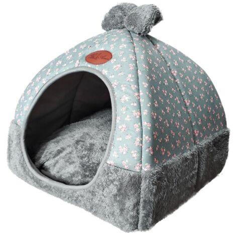BetterLife Dog Bed House for Dog Litter Winter Cat Homemade Closed Cat Villa Folding Plush Villa Pet Supplies Yurt Chenil Gray M ===