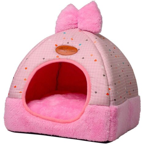 Betterlife Dog Bed House for Dog Litter Winter Cat Homemade Folding Cat Folding Villa Plush Cat Supplies Yurt Chenil Rose XL ==