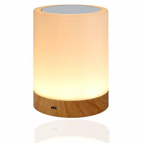 betterlife Holzmaserung Schreibtischlampe Bunte LED Nachtlicht Schlafzimmer Nachttisch Mood Schreibtischlampe USB Wiederaufladbar (bunt + warmes Licht) 3W
