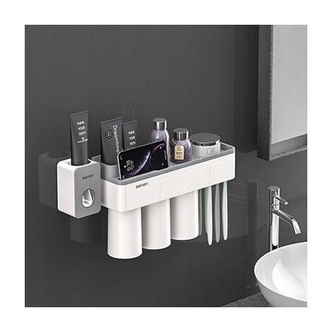 Betterlife Support de salle de bain Support mural 3 tasses + dentifrice Boîte de rangement pour appareil de compression mural Support à ventouse magnétique sans perforation=