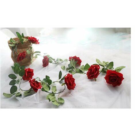 Betterlife Vigne rose artificielle, décoration entrelacée de fausse vigne (rouge)