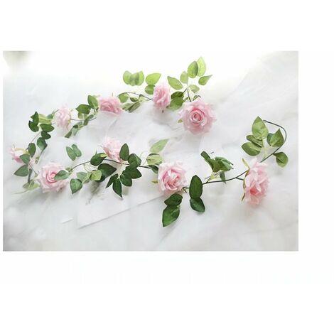 Betterlife Vigne rose artificielle, décoration sinueuse fausse vigne (rose clair)