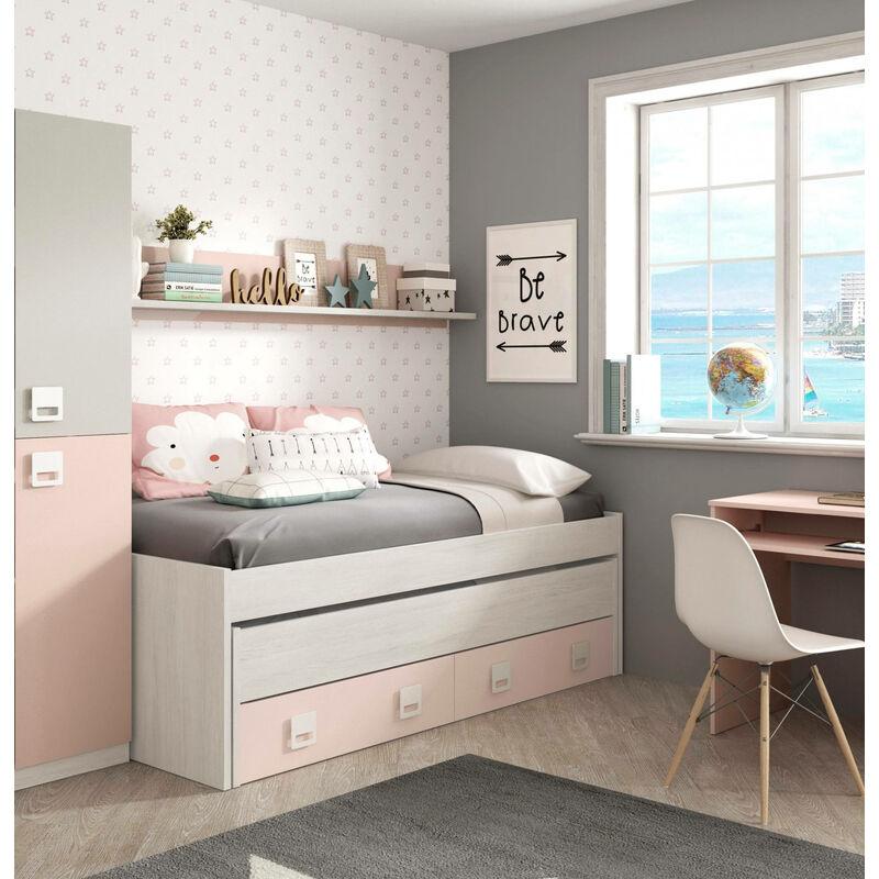 Bettrahmen mit zweitem Ausziehbett mit Kommode und passendem Wandregal, Farbe Weiß mit hellem Holzeffekt und Rosa, 199 x 65 x 95 cm. - DMORA