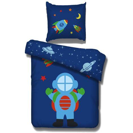 Bettwäsche Peyton Vipack für alle 90*200 cm Betten 2-teilig aus 100 % Baumwolle bei 40° waschbar Astronaut