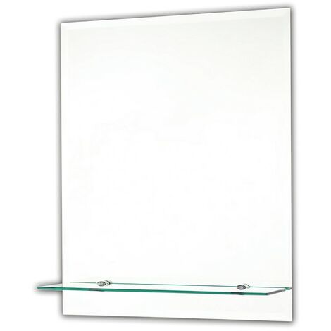 Bevelled Rectangular Ensuite Mirror with Shelf 400mm x 500mm