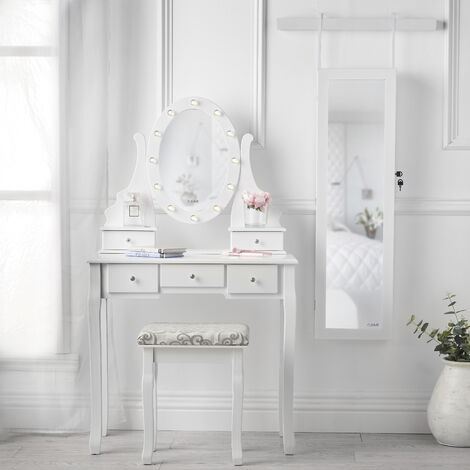 Beverely Dior x Crystal Set White LED Light Mirror Dressing Table Stool Wall Mirrored Jewellery Cabinet Makeup Storage