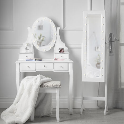 Beverely Dior x Zoey LED Light Mirror Dressing Table Stool Free Standing Mirrored Jewellery Cabinet Makeup Storage White Set