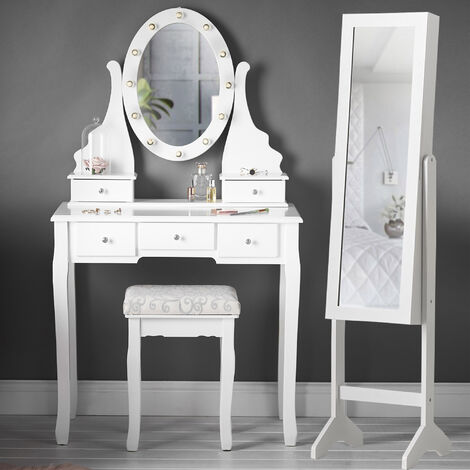Beverley Dior x Caitlyn White LED Mirror Dressing Table and Mirror Jewellery Cabinet 2 Piece Set