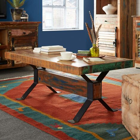 """main image of """"Beverly Coffee Side Table Reclaimed Solid Rustic Wood Living Room Hand Finished"""""""