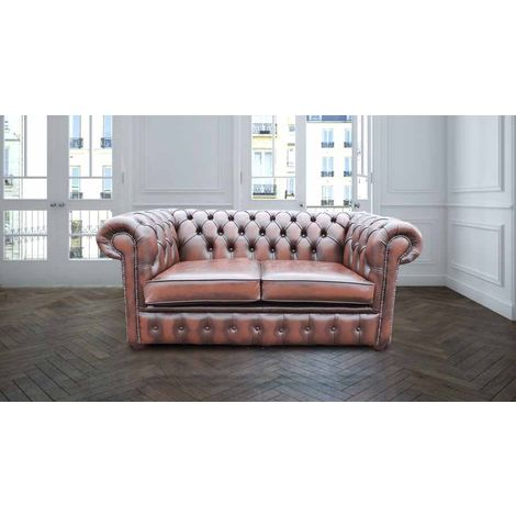 Bexley 2 Seater Antique Leather Chesterfield. Brown