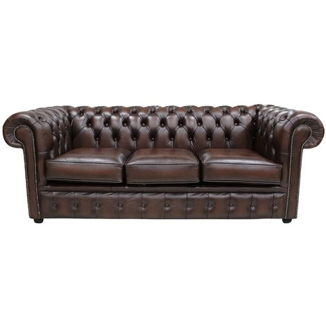 Bexley 3 Seater Antique Leather Chesterfield, Brown