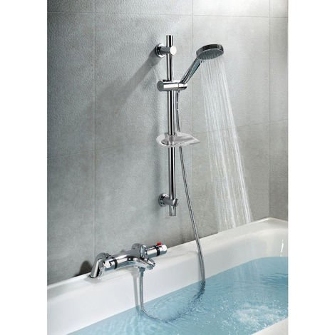 Bexley Thermostatic Deck Mounted Valve Bath Shower Mixer Riser Kit / 3 Mode Handset