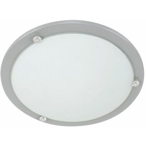 Bezel Grey & Frosted White Glass Flush Round Ceiling Light Fitting