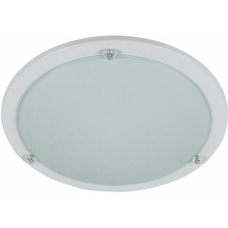 Bezel White & Frosted White Glass Flush Round Ceiling Light Fitting