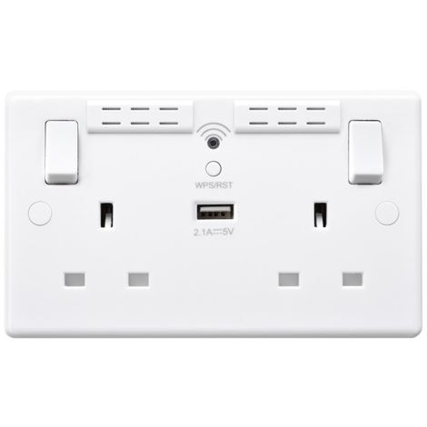 BG 13A WIFI Range Extender Double Plug Socket With 1 x USB (2.1A), White Finish