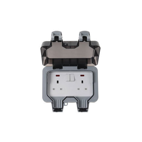 BG Electrical WP22, 2 Gang, 13 Amp Double Pole Switched Socket